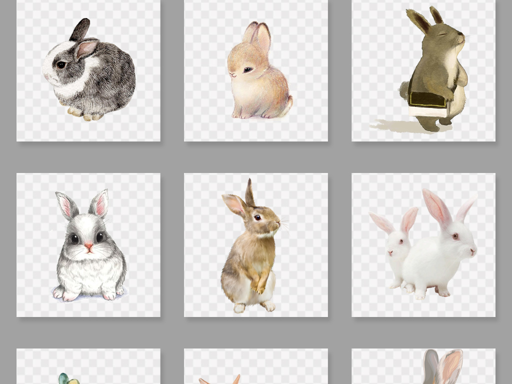 可爱卡通手绘兔子png设计素材