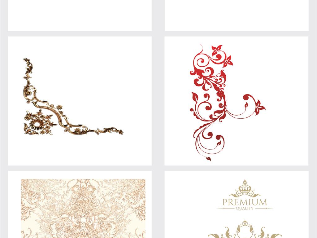 欧式花纹边框底纹png素材图片