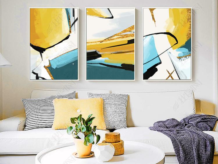 现代简约手绘抽象色彩色块金色线条客厅装饰画