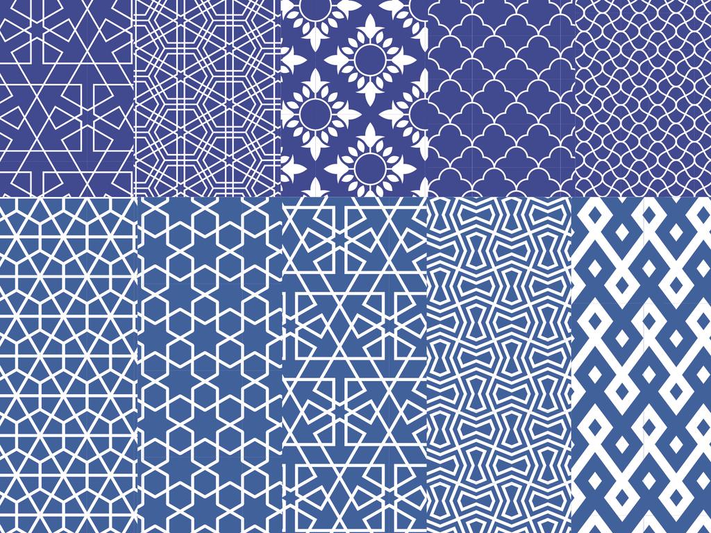 2018蓝色复古抽象几何图案阿拉伯传统图形矢量素材图片