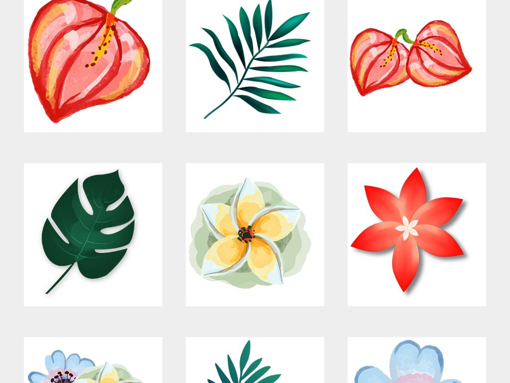 热带森系水彩绿叶植物手绘棕榈叶龟背竹图案装饰画插画png元素01