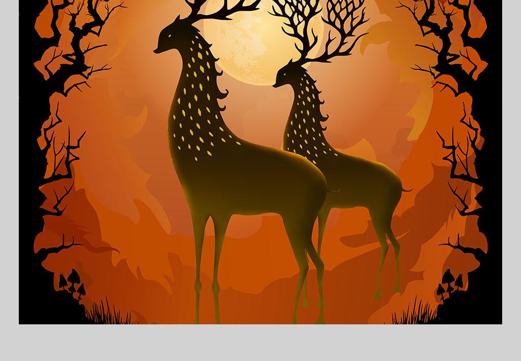 手绘梦幻森林麋鹿装饰画无框画