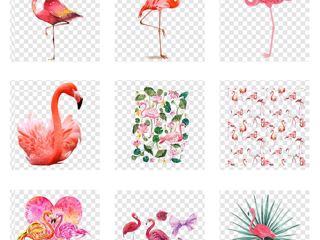 手绘森系火烈鸟背景墙壁纸壁画png素材