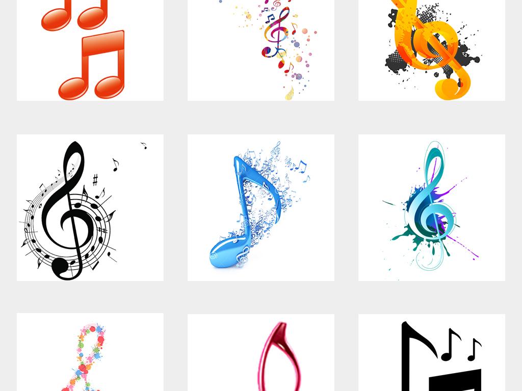 爱卡通彩色音符高音谱号音乐海报png免扣素材图片 模板下载 32.21