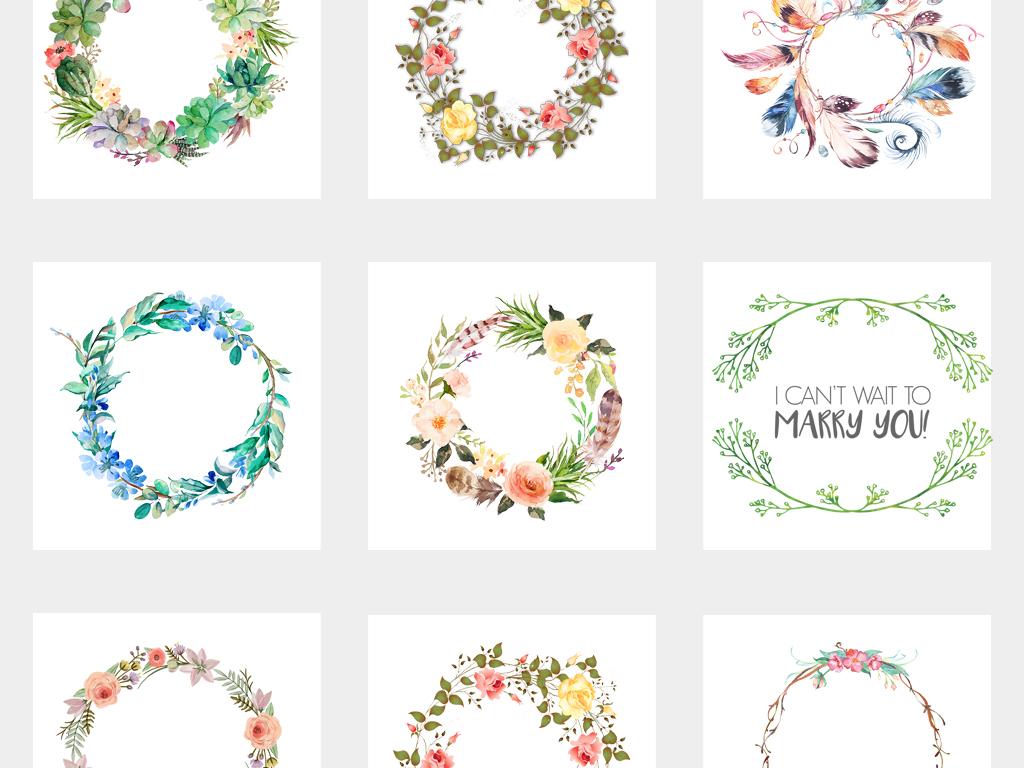 唯美手绘小清新圆形花环装饰边框png素材