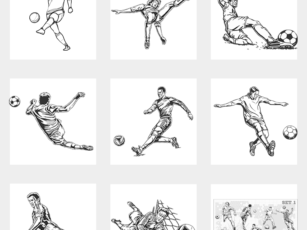 2018世界杯手绘踢足球运动人物线稿素描素材