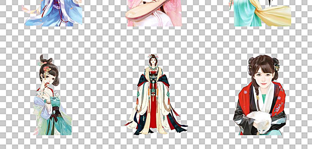 古典美人中国古风帝妃子手绘彩绘女