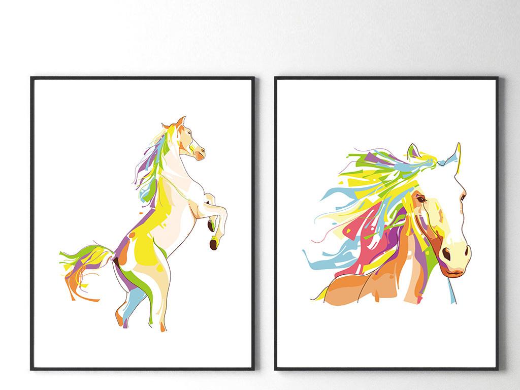 北欧简约水彩线条手绘几何抽象动物装饰画
