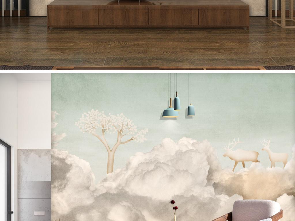 北欧唯美天空复古云彩手绘麋鹿背景墙装饰画