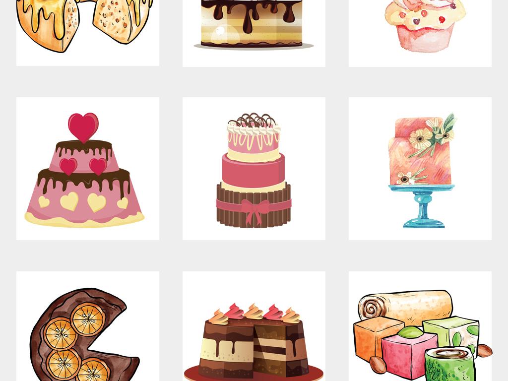 独立png/卡通手绘婚礼生日蛋糕设计元素图片素材_模板