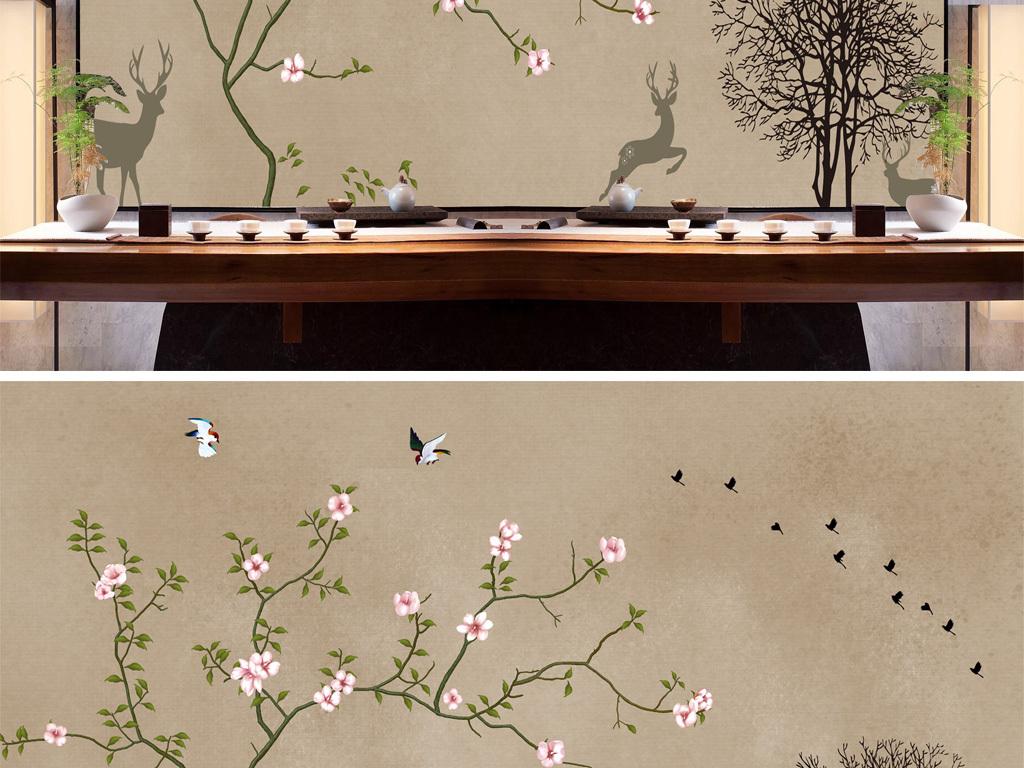 素雅梅花白梅花背景墙手绘鹿现代简单树