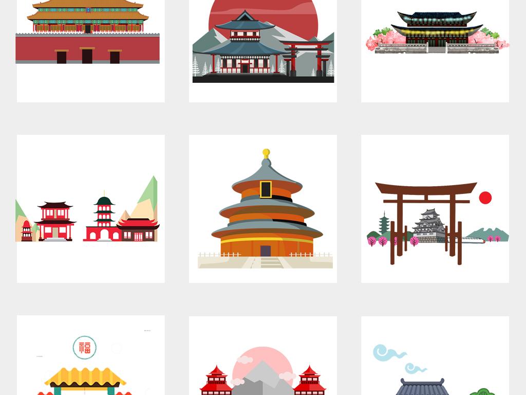 中国风卡通古代建筑古镇宝塔背景png素材