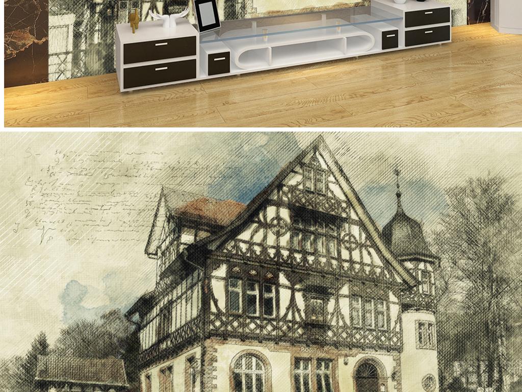 背景墙|装饰画 电视背景墙 电视背景墙 > 手绘污渍彩色哥特建筑  素材