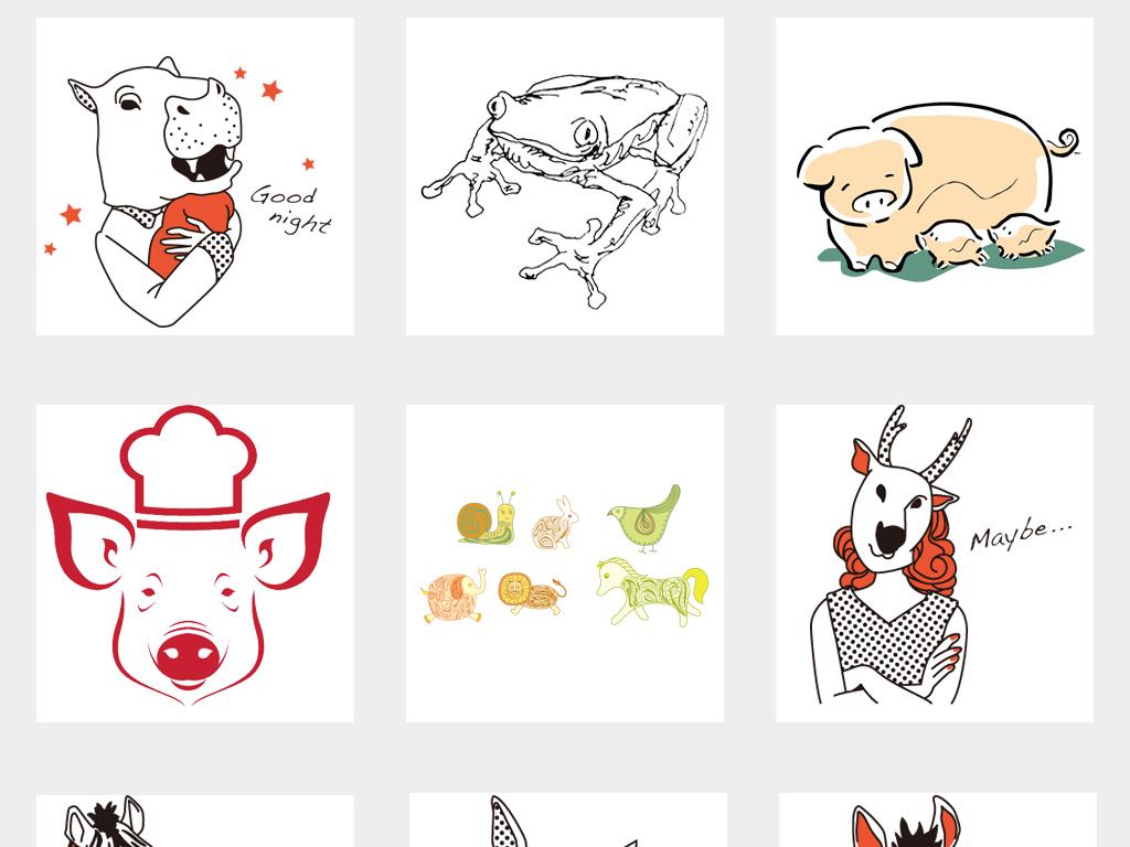 卡通简约拟人化动物手绘动物线描插画png素材