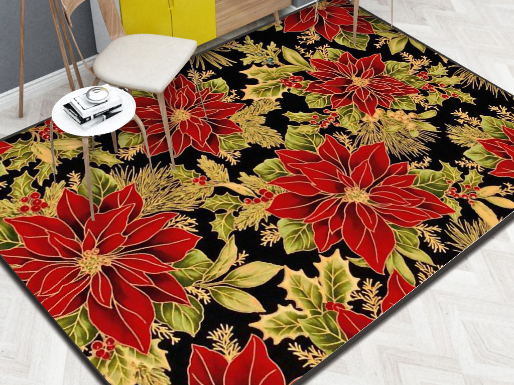 复古花卉花朵手绘地毯背景