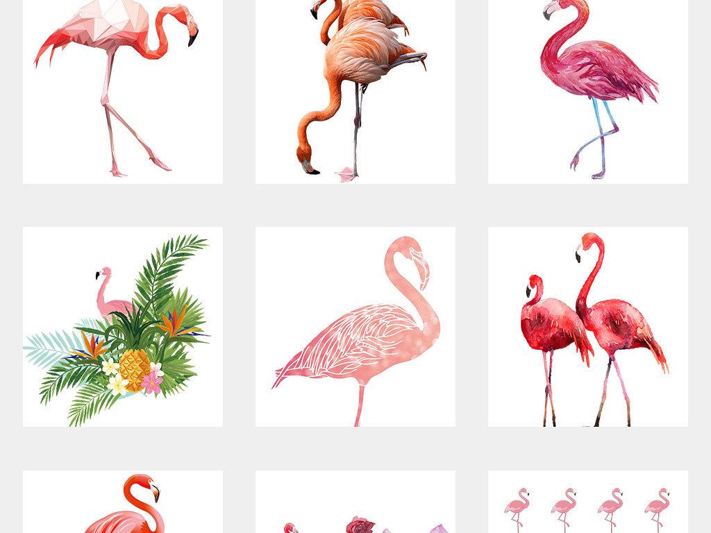 森系手绘可爱卡通火烈鸟海报背景素材