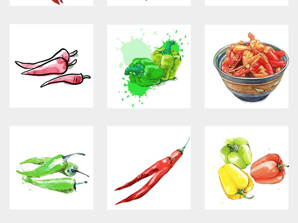 红色水彩素材辣椒手绘调料辣椒全集png免扣素材