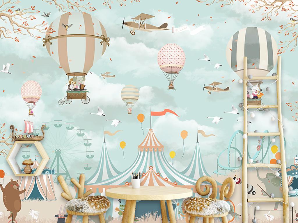 背景墙 电视背景墙 手绘电视背景墙 > 卡通热气球背景墙  素材图片