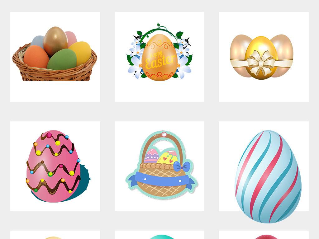卡通彩色手绘复活节小兔子彩蛋png素材