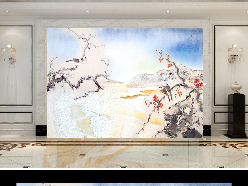 新中式手绘梅花花鸟山水电视背景墙装饰画