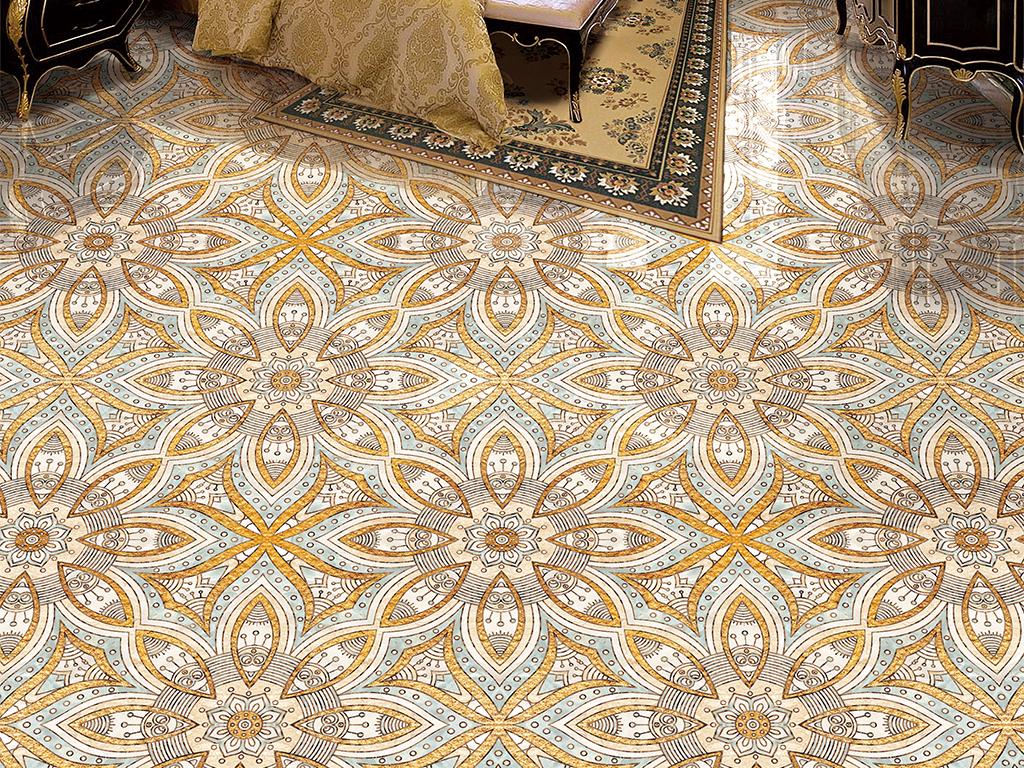 现代风格大理石纹瓷砖拼花客厅卧室地板地砖图片