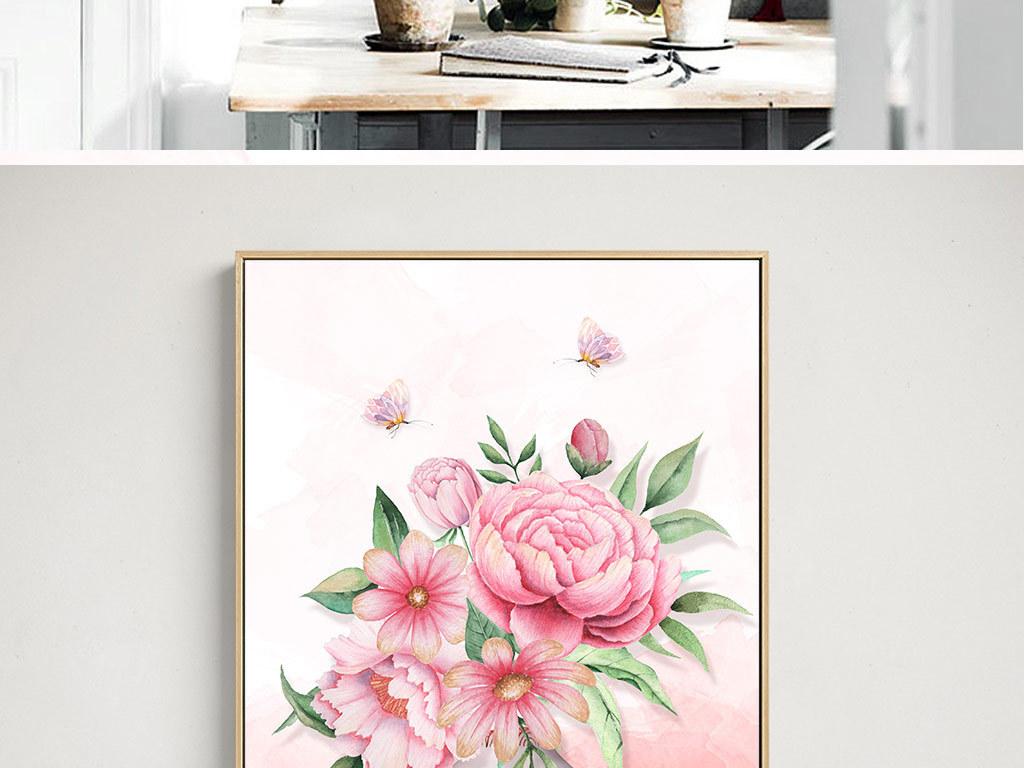 欧式高清手绘火烈鸟花瓶玫瑰花三联装饰画