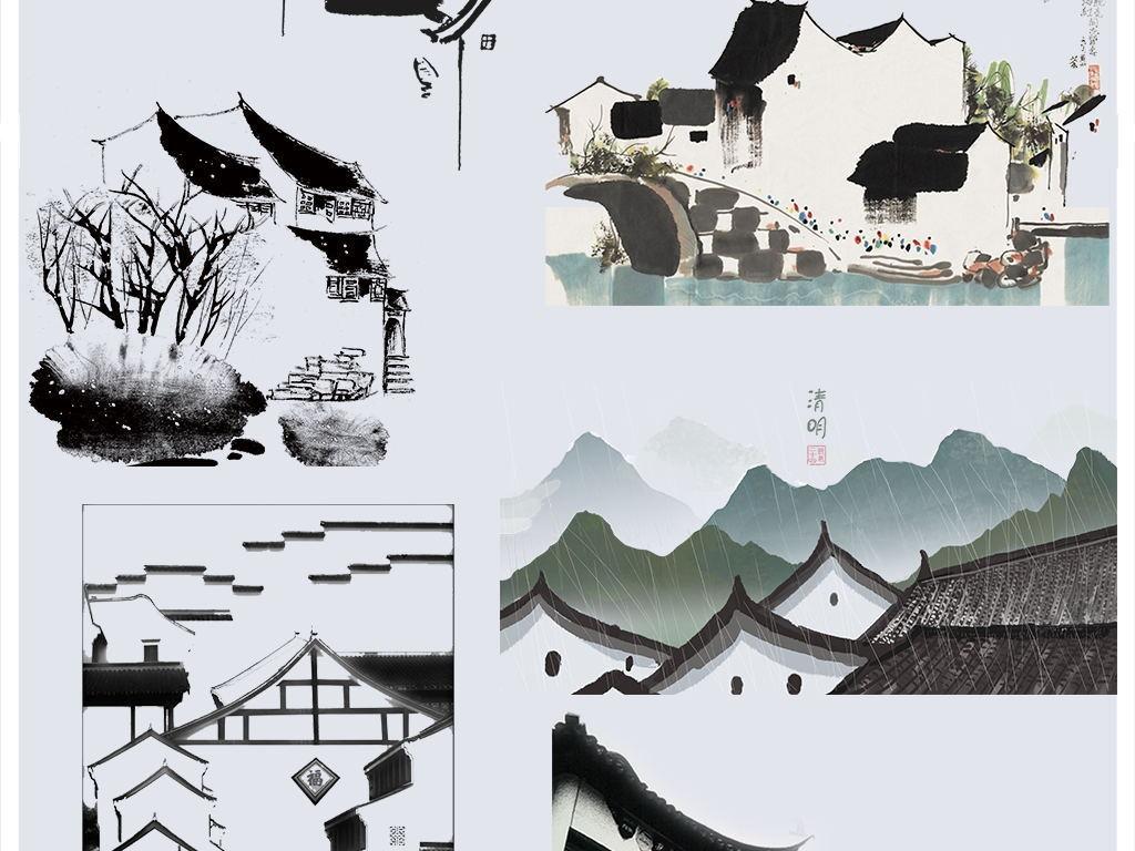 中国风江南水墨屋顶屋檐徽派建筑png素材图片设计_(.