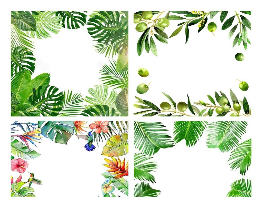 森系热带植物树叶芭蕉叶手绘边框png素材