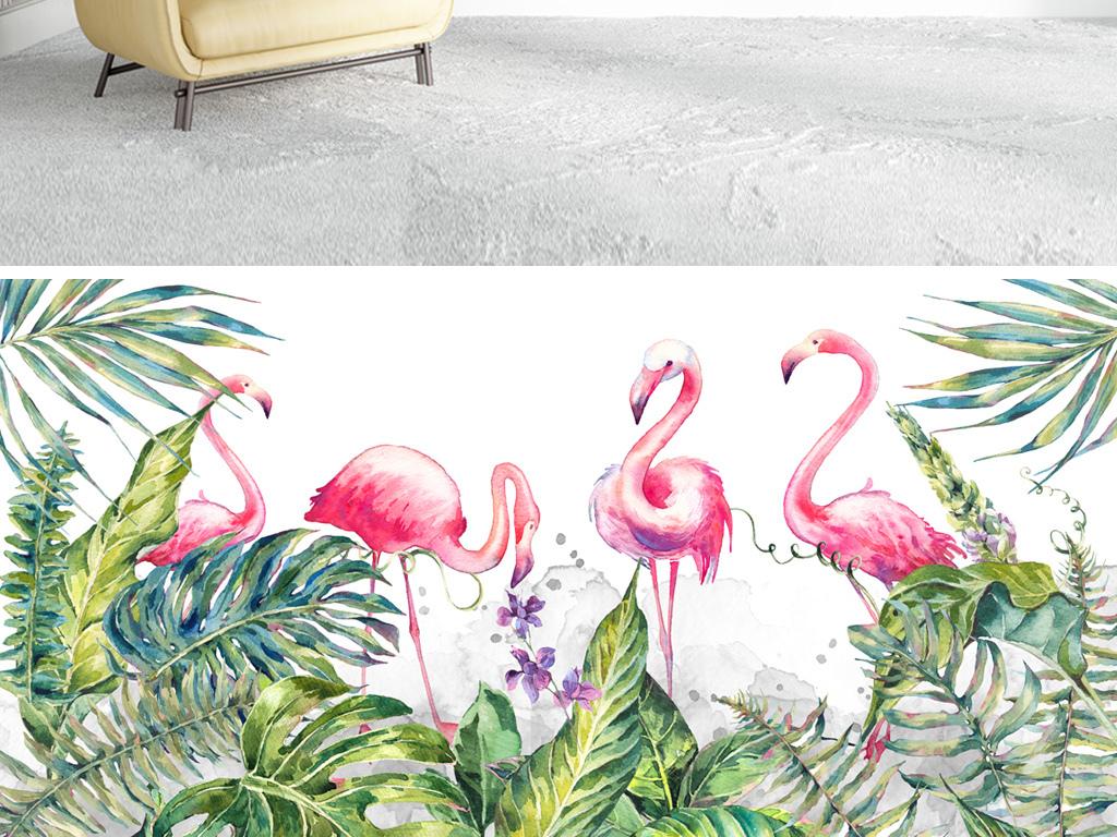 北欧火烈鸟植物绿叶手绘背景墙