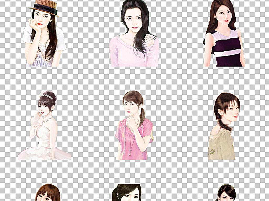成熟现代女人知性美女手绘卡通美女图片