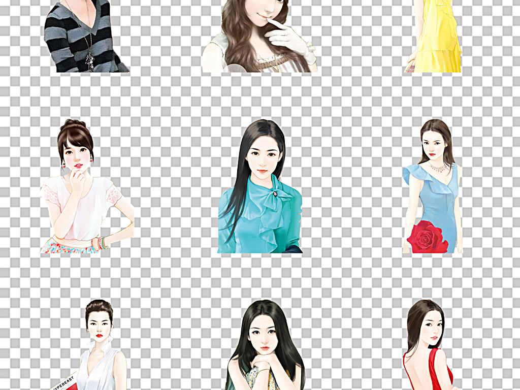 免抠元素 人物形象 美女 > 卡通现代女人手绘美女现代女性  素材图片