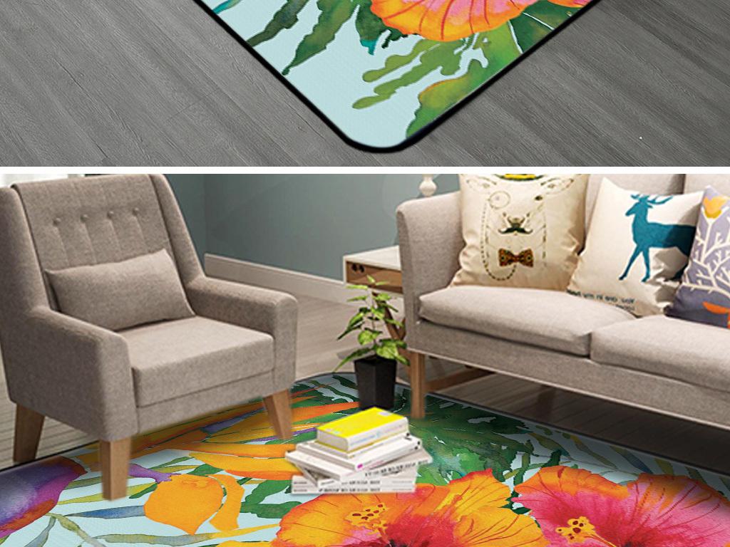 时尚花卉花朵手绘地毯背景