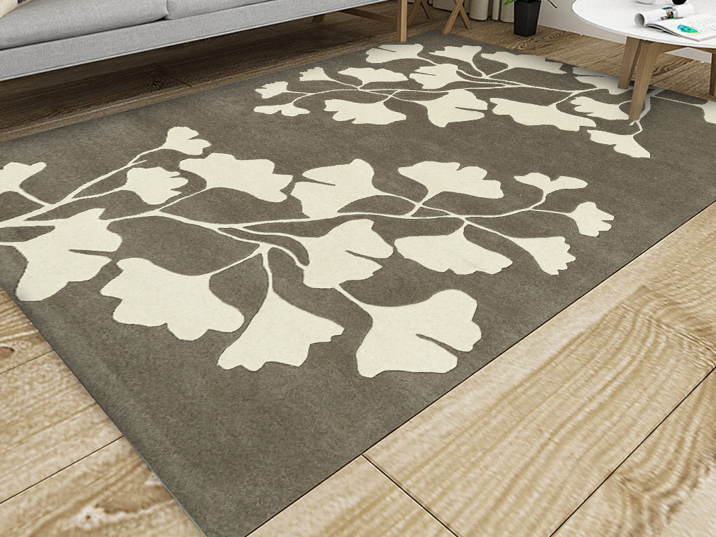 北欧小清新手绘银杏叶客厅卧室床边地毯
