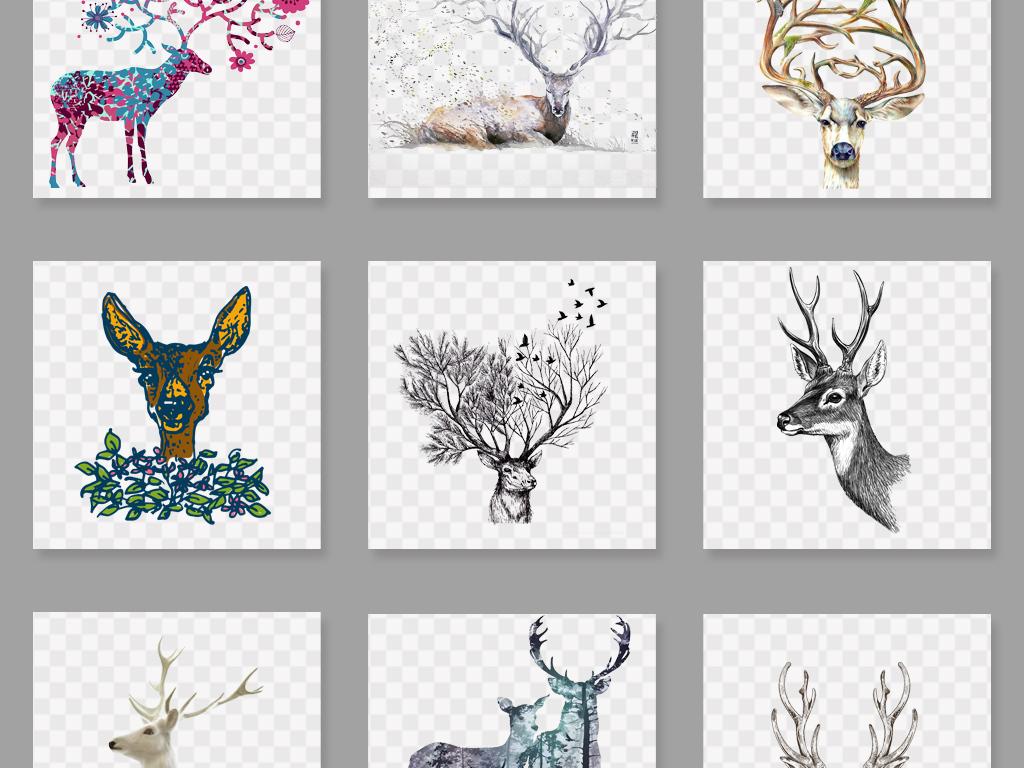 创意水彩手绘鹿森林鹿麋鹿png素材