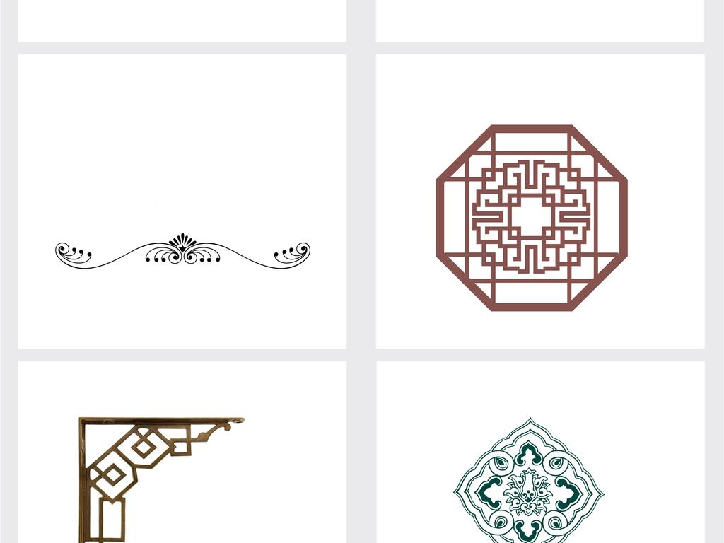 中式花纹边框png素材