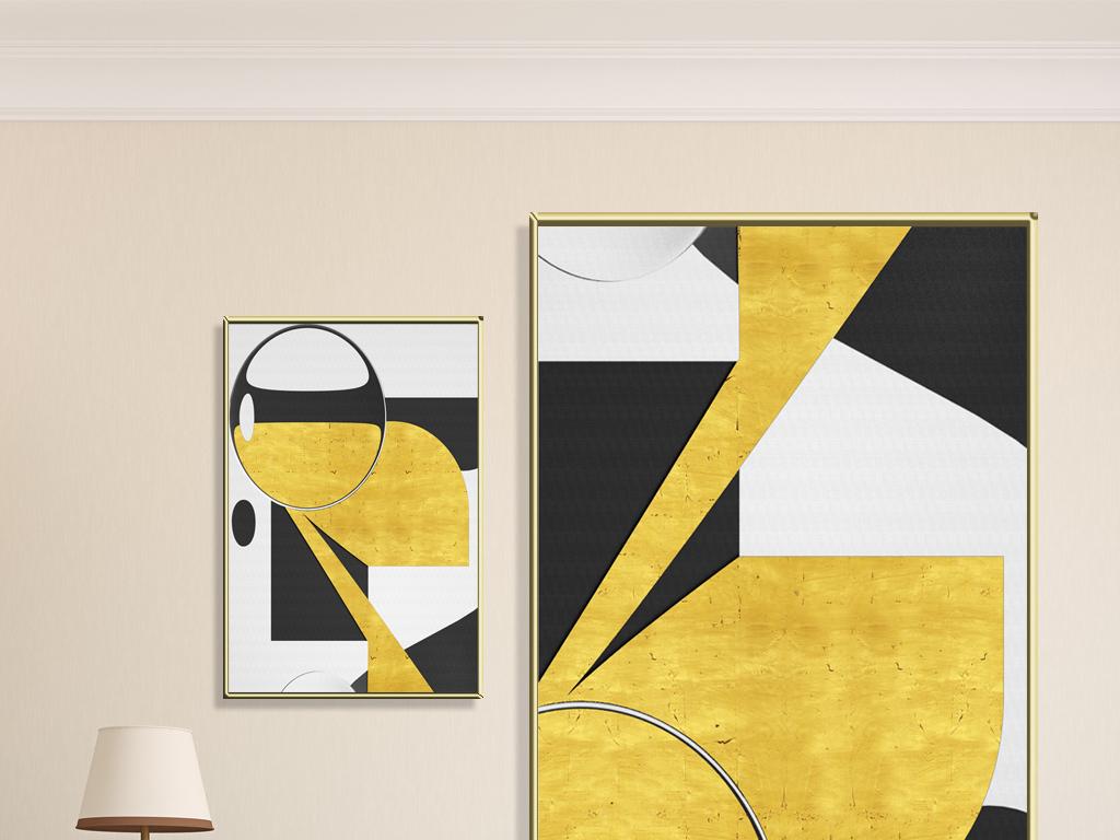 背景墙|装饰画 无框画 抽象图案无框画 > 现代简约抽象几何金色艺术图片