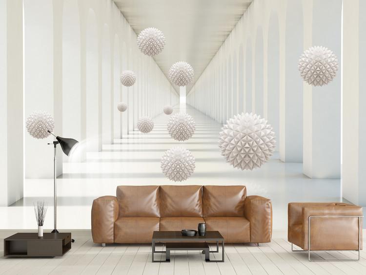 清新唯美立体圆球几何抽象空间背景墙北欧