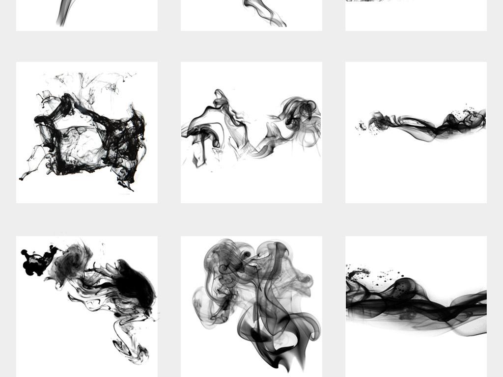 黑色霸气动感水墨烟雾透明png素材图片