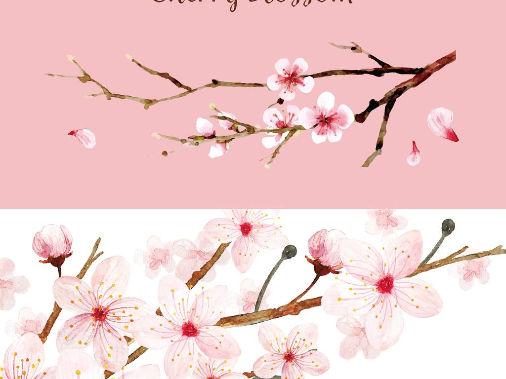 桃花春天4月樱花水彩素材
