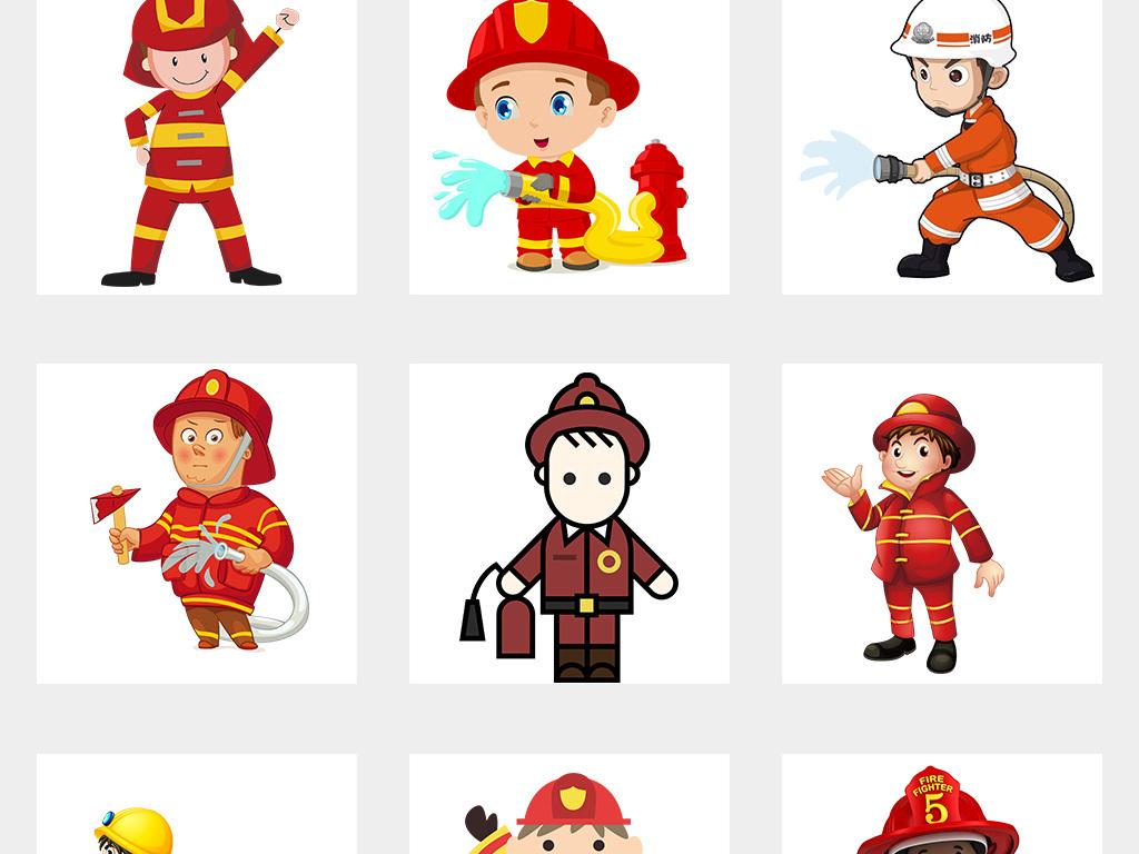 卡通消防员消防安全灭火救灾png海报素材图片 模板下载 23.87MB 效果大全
