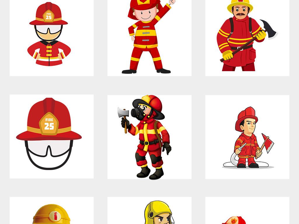 卡通消防员消防安全灭火救灾png海报素材