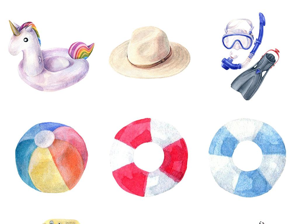 小清新夏日阳光海滩水彩手绘png元素