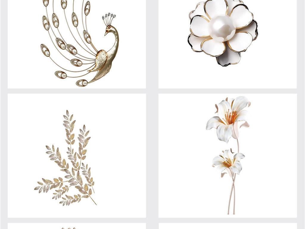 珠宝新中式唯美水彩手绘玉兰花