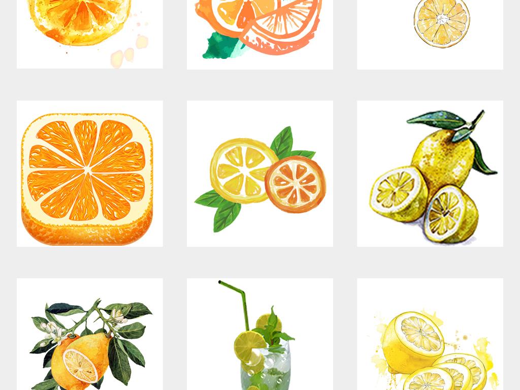 手绘美味橙子水彩橘子柠檬水果海报素材png免扣背景