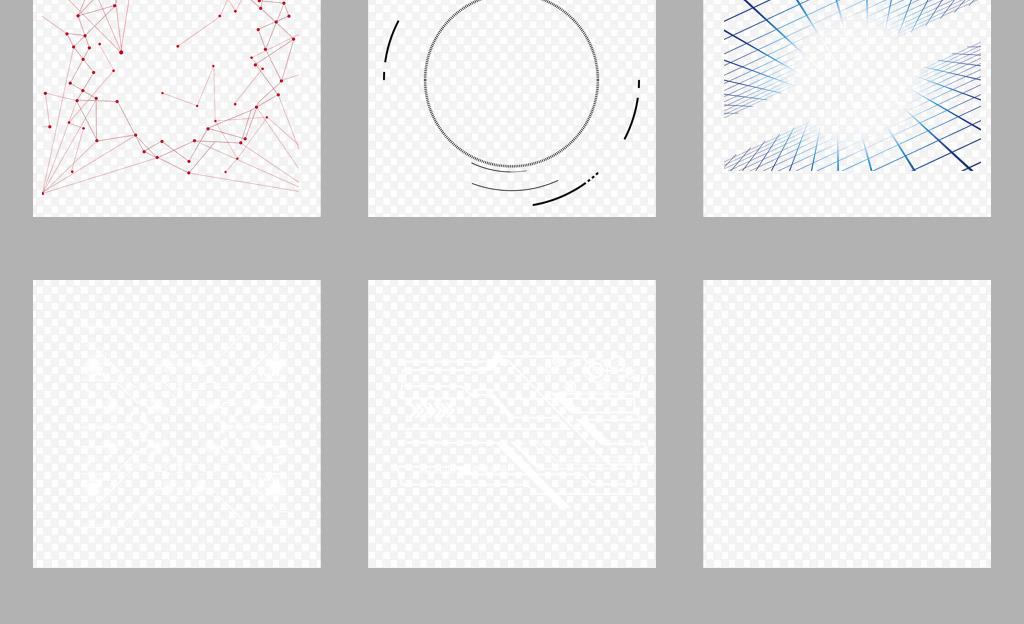 50款蓝色高科技科技感边框线条png素材图片