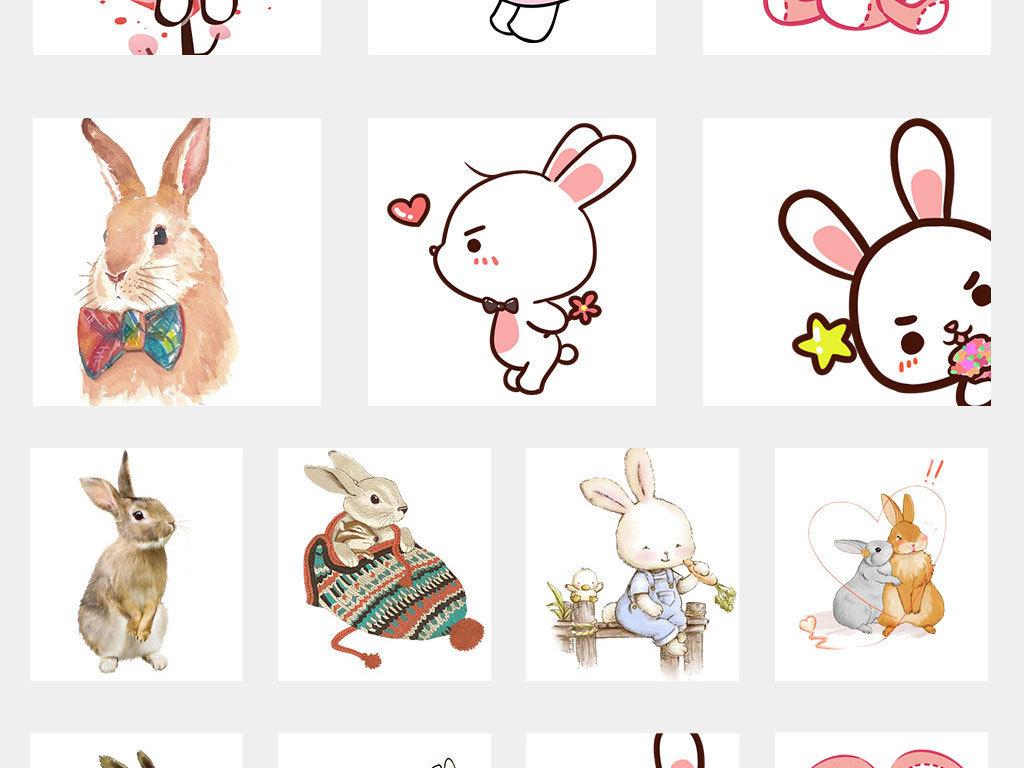 卡通可爱主题手绘小兔抱彩蛋彩蛋png素材