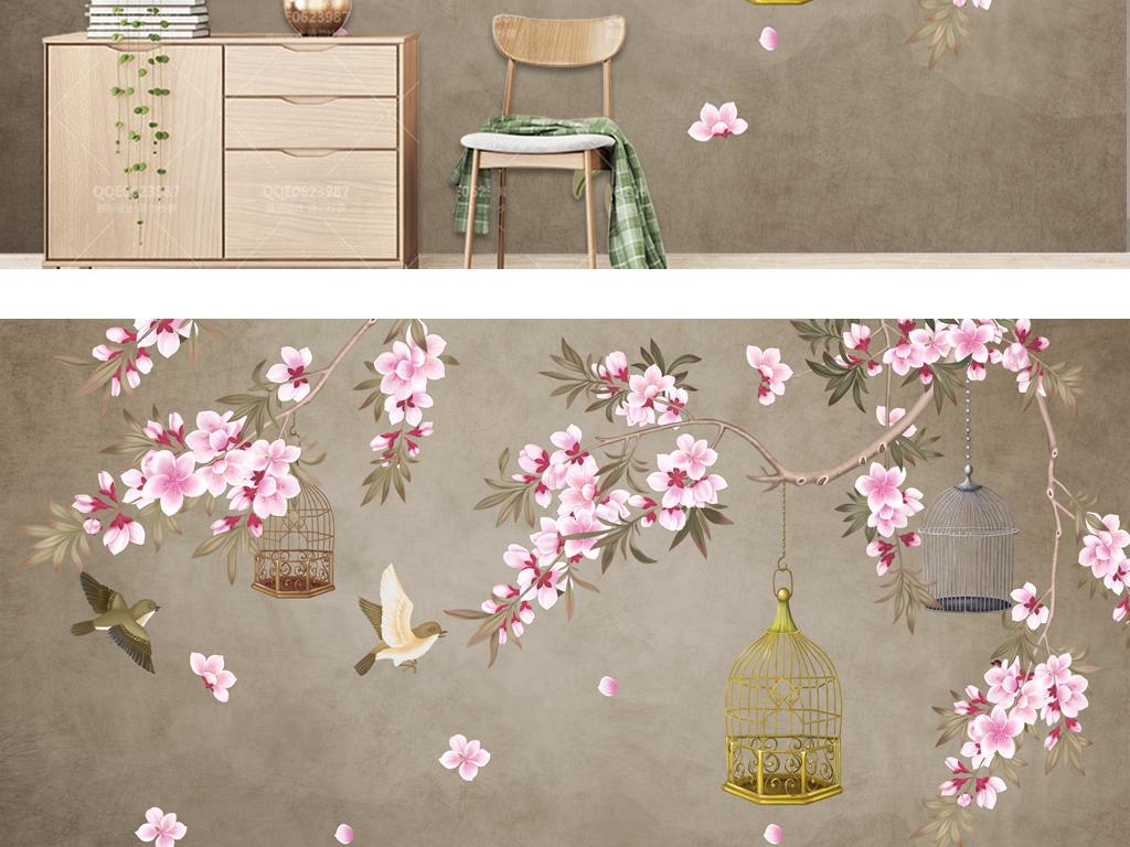 古典工笔手绘桃花鸟笼电视背景墙下载