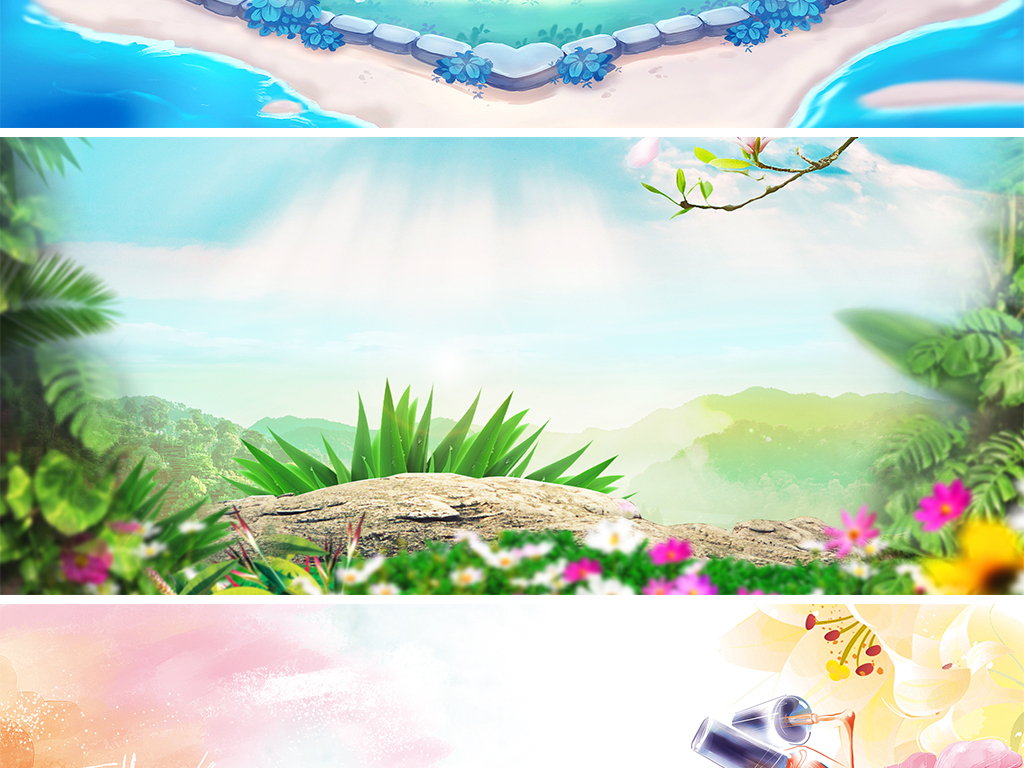 春季夏季清新蓝色绿色手绘淘宝电商海报背景