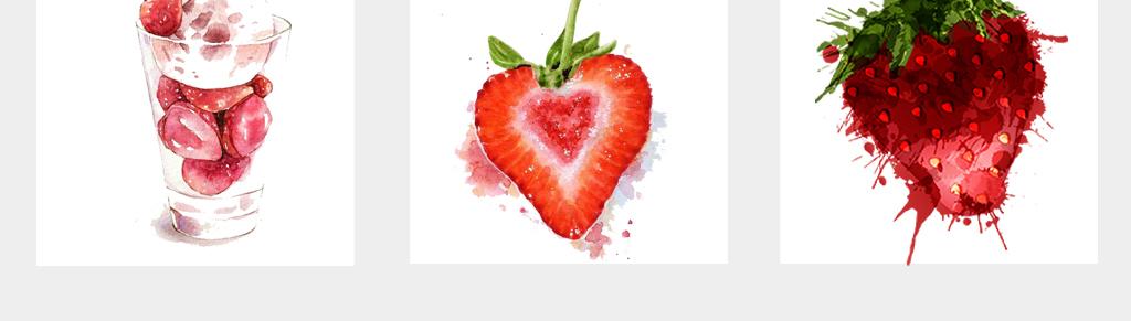 手绘甜品草莓水彩草莓透明背景png免扣素材
