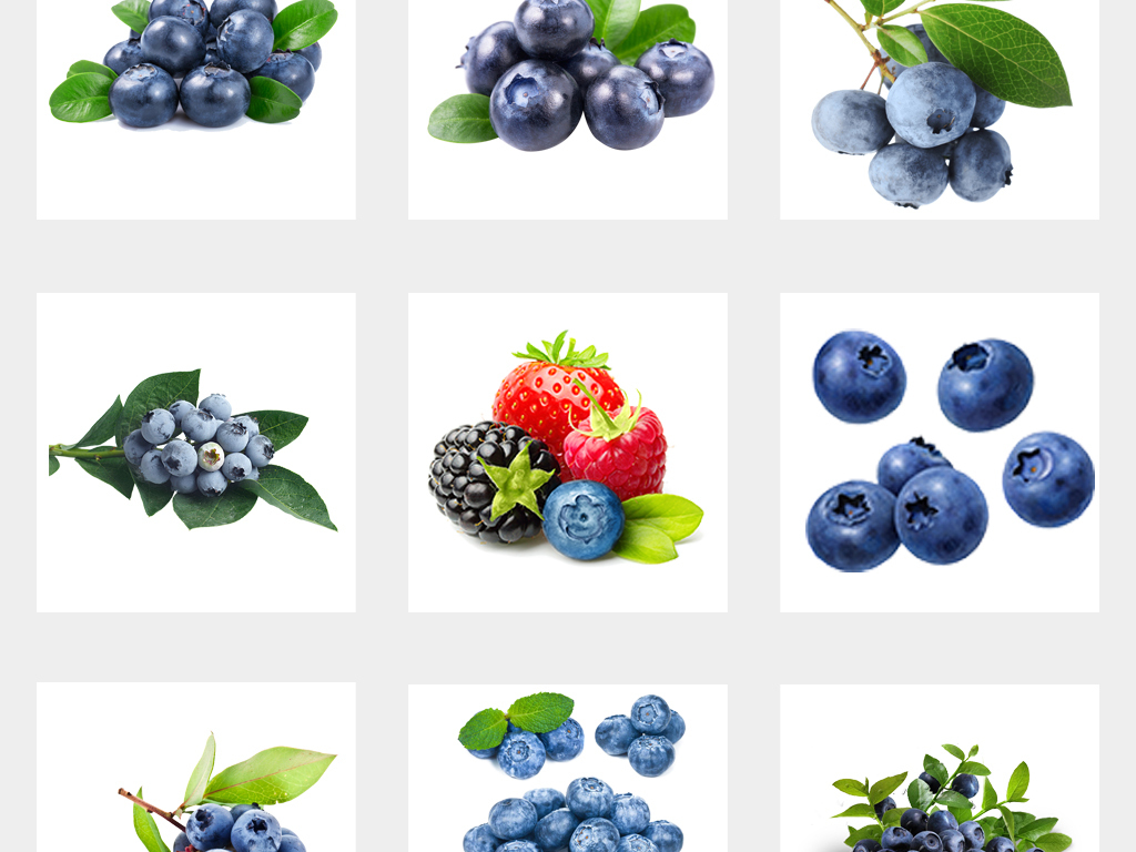 卡通可爱新鲜水果蓝莓手绘蓝莓水彩蓝莓绿叶png素材